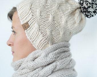 Women's Knit Hat / Winter women's Hat / Beige Hat / Knitted Beanie / Women's Wool Hat / Knit Pom Hat
