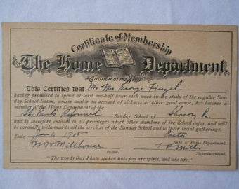 1915 Certificate ST. Paul's Reformed Sunday School SHARON PA