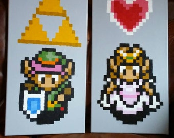 Link + Zelda from A Link to the Past  (SNES) 2 pixel paintings 12x24 canvas