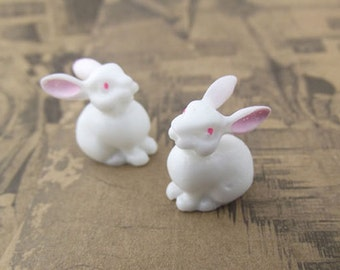 10pcs Lovely Resin cute rabbits Cabochon Cameo Charms.