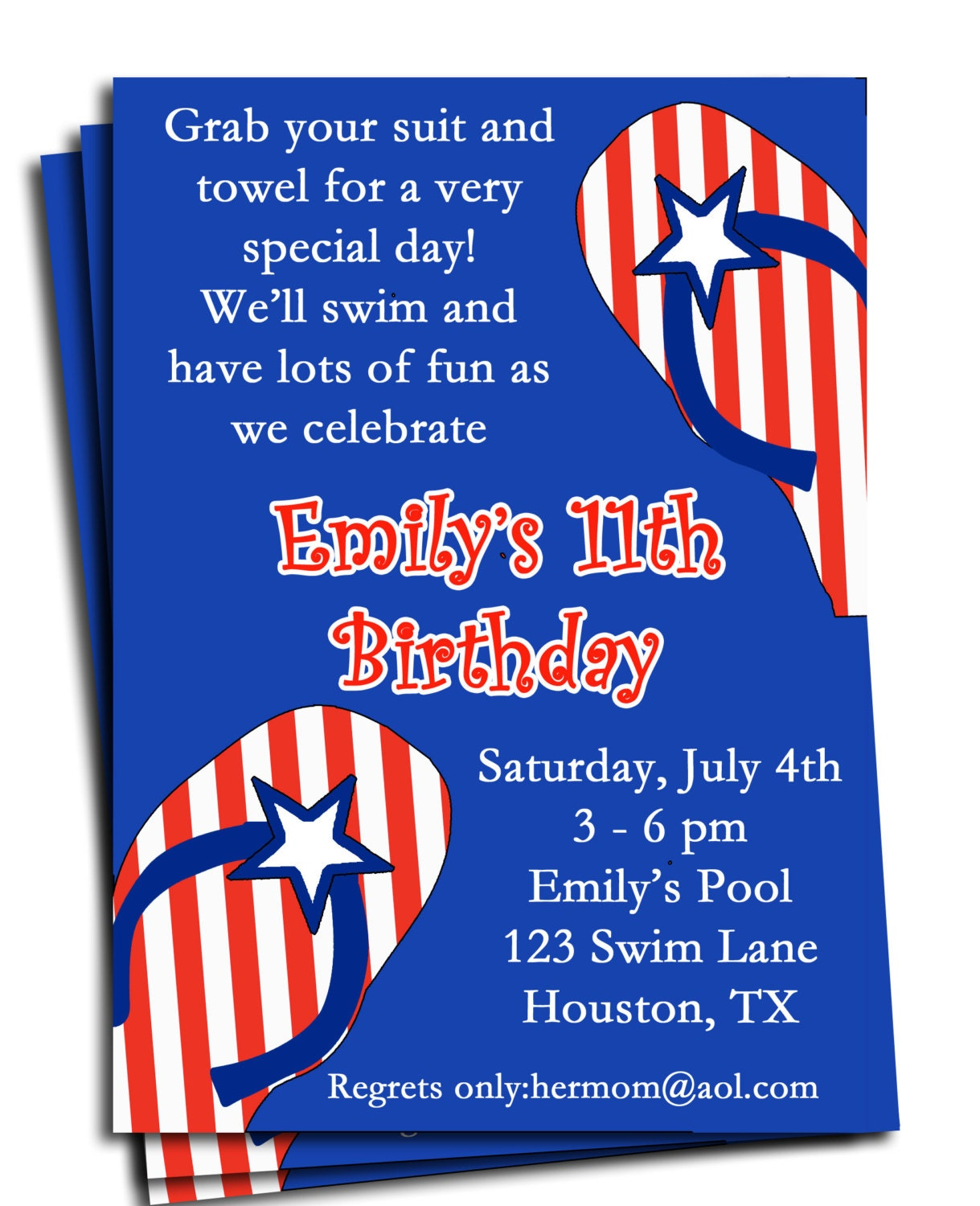 fourth of july pool party invitation printable or printed with