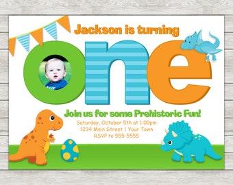Dinosaur 1st Birthday Invitation, Dinosaur Birthday Invitation - Digital File (Printing Services Available)