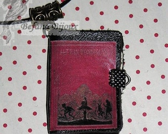 Book necklace leather Alice (book necklace)