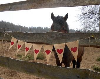 Heart Bunting Burlap Wedding Banner Bridal Shower Banner Heart Banner Burlap Wedding Decor Wedding Garland Heart Garland