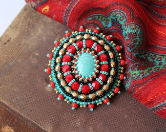 Turquoise Red Gold Brooch Beadwork Brooch Bead Emboidery Brooch Embroidered jewelry Ethnic Boho jewelry Turquoise jewelry MADE TO ORDER
