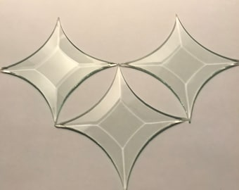 """4 pack of 2-5/8"""" 4 point Star of Clear Glass Bevel on top, flat on back - is  2-5/8 inch point to point"""