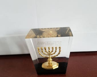 Hand made 3D Menorah in plastic clear cube/ Table decoration