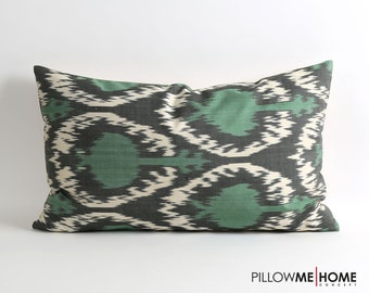 Silk ikat pillow cover Green,black and white pillow 16x26 inch