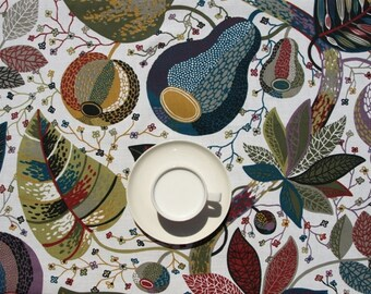 Tablecloth white bright blue moss olive green grey red yellow leaves , table runner , napkins , curtains , pillows available, great GIFT