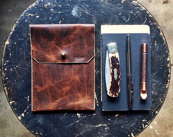 EDC Leather Organizer * Moleskine Leather Cover * Field Notes Leather Notebook Sleeve * Bison Leather * EDC Wallet * Everyday carry