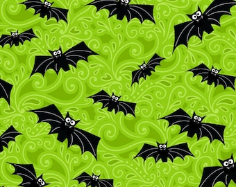 Glow in the Dark Green Bats from the Fantastic Glows Collection by Henry Glass, Halloween Fabric, Glows in Dark