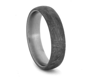 Gibeon Meteorite Ring With Titanium, Rare Gibeon Meteorite, Masculine Mens Wedding Band With Meteorite Overlay