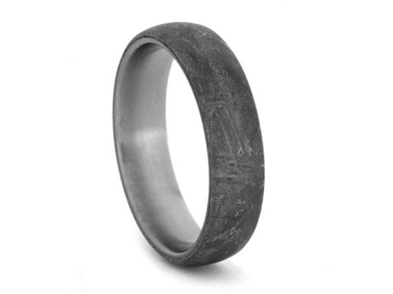 Gibeon Meteorite Ring With Titanium Rare Gibeon Meteorite