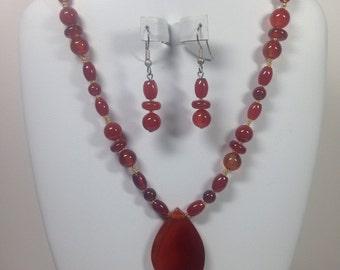 Red Agate and Carnelian Neclace & Earring Set, Gemstone Jewelry, Healing Jewelry