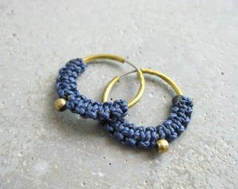Small Brass Hoops Blue Fiber Earrings Jewelry . Micro Macrame . Modern Fiber Textile Jewelry . Design by .. raïz ..