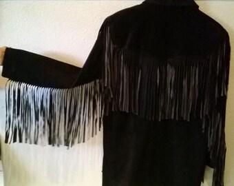 Vintage ROCK N ROLL Western Leather Fringe Jacket