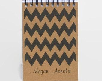Small Notebook, Small Notepad, 3.5 x 5 Memo Pad - To Do List, Personalized Notebook, Mini Journal, Chevron Print
