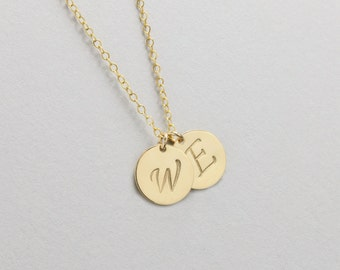 "Personalized Large Initial Necklace, Minimal Necklace, 1/2"" Disc, Gold Initial Necklace, Initial Pendant, Monogram Necklace, Kids Initials"