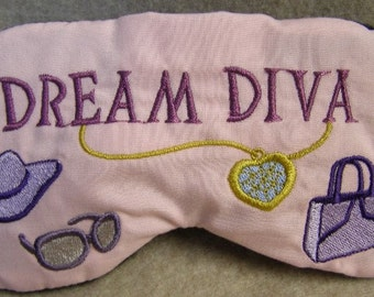 Embroidered Eye Mask, Sleeping, Cute Sleep Mask for Kids or Adults, Eye Shade, Sleep Blindfold, Slumber Mask, Diva Shopping Design, Handmade