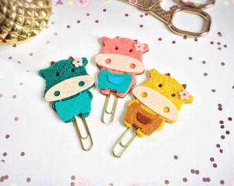 Planner Clip. Cute Animal Felt Teal Coral Mustard -  Paper Clip | Page Clip | Bookmark | Page Marker . Planner accessories supply.