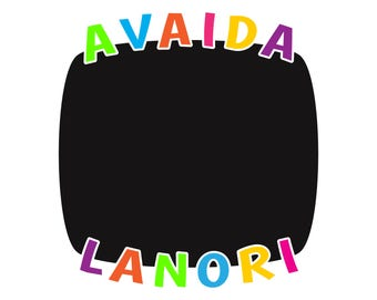 Kids chalkboard decal with personalzied names.  Custom chalkboard vinyl for your playroom decor.