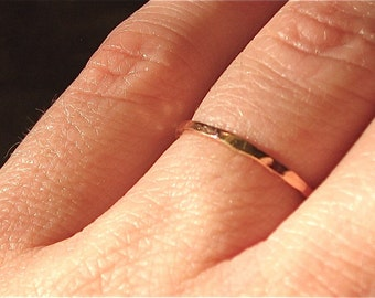 thin Wedding Band, Solid 14k Rose Gold ring, thin wedding ring, hammered textured, minimalist band, 1.3mm 1.3 mm, eco recycled gold band