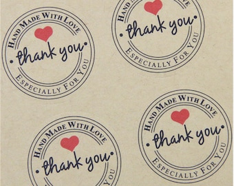 Red heart stickers Stickers stickers thank you handmade kraft Stickers, 3 cm
