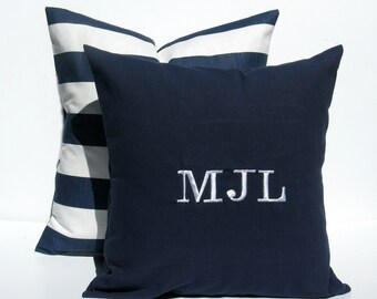Monogram Pillow ,PERSONALIZED,Navy Pillow, Monogrammed Pillow, Personalized Pillow - Blue Monogram Pillow - COVERS Decorative Pillows -