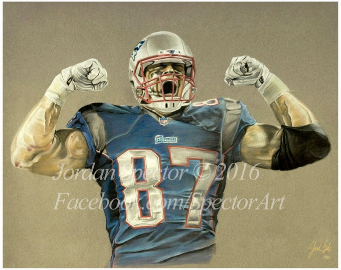 New England Patriots - Rob Gronkowski Art Print - Patriot Wall Art - Gronk - Man Cave Art - Patriots Decor - Dorm Decor - Gifts for Him