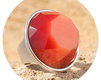 Artjany XXL ring Silk Orange Silver