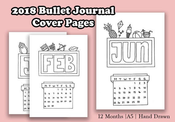 2018 Bullet Journal Cover Pages Printable Mini Calendar