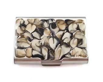 Large Metal Card Case Hand Painted Enamel Smoky Quartz Inspired  Metal Wallet with a Glossy Finish Custom Colors and Personalized Options