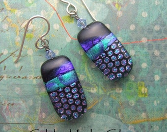 Cool Forest Dichroic Dangles, Fused Glass Jewelry from NC