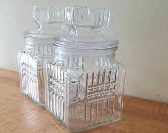 Apothecary Jar Koeze's Pretzel 1984 and 1987 Jars Glass Canister Jar Set of 2