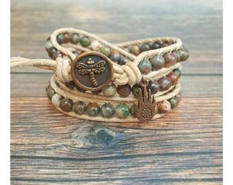Wrap Bracelet - Boho Bracelet - Gemstone Bracelet - Jasper Bracelet - Leather Wrap Bracelet - Gift for Her - Gemstone Jewelry - Boho Jewelry