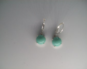 Round Caribbean Turquoise Vintage Czech Cabochon Earrings Set in Sterling Silver 9mm round