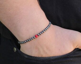 Men's Bracelet Hematite Slim Bracelet for Women Gift for Men's Gift Stacking Bracelet for Men Beaded Bracelet Mens Christmas  gift for her