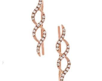 Beautiful 14k Rose Gold Diamond Earrings 150-468