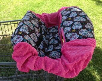 Shopping Cart Cover- Flokoric Skulls/ Hot Pink