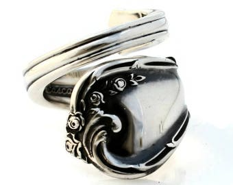 Sterling Silver Spoon Ring Rose Cascade