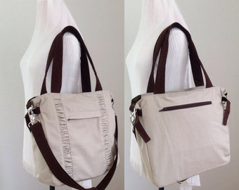 New Champagne Tote Bag with Ruffle / Brown Straps / Canvas Bag / Messenger / Cross body / Travel / Water-resistant Interior - Vicky