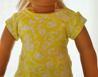 "Yellow Doll T-shirt American GIrl 18"""