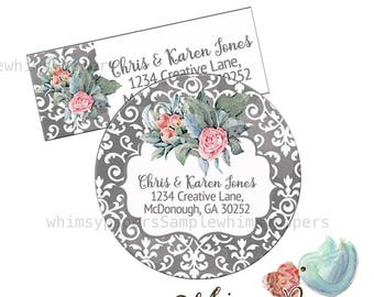 Thank you Stickers, Address Labels, Floral Stickers