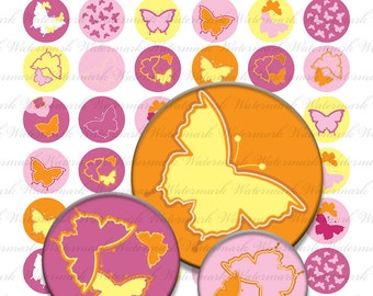 Collage sheet butterfly digital 1 inch circle (1 x 1), pink orange yellow : s0107 3s04