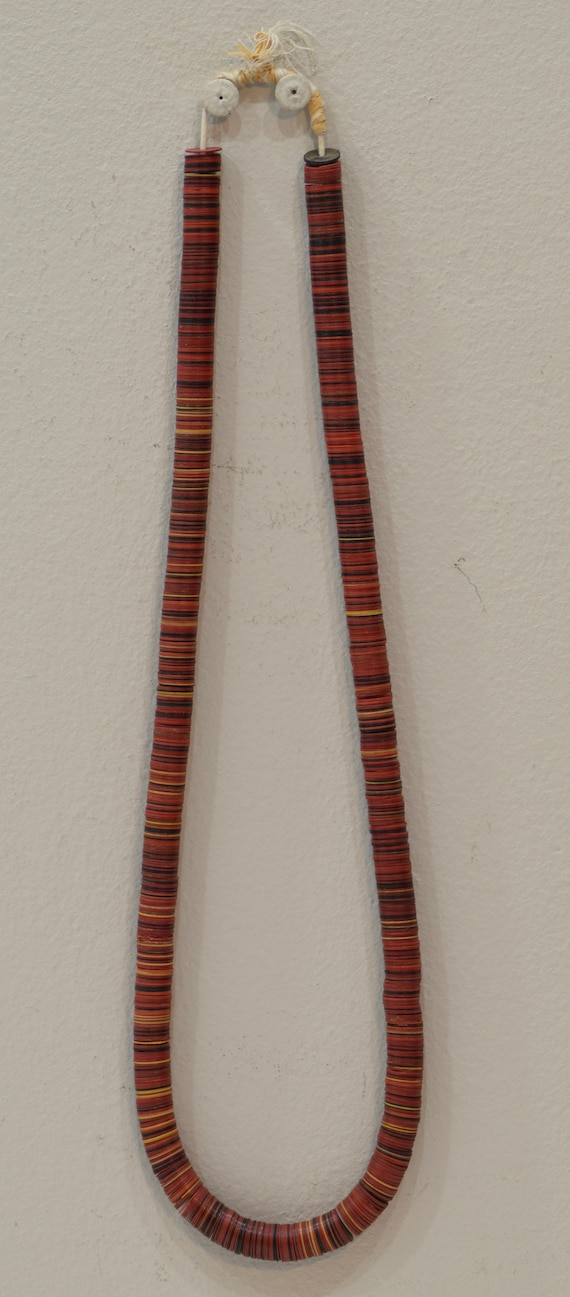 Necklace African Red Tribal Vinyl Disc Mali Handmade Women Wear Waists Beauty Necklace Jewelry Making Tribal Fun Unique Statement