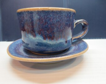 Beautiful Stoneware Blue Crystaline Glaze Cup And Saucer Set
