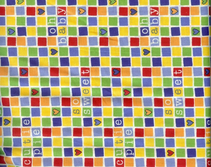 Checkered Sentiments-100% cotton fabric-sold by ( multiple lengths)  #7