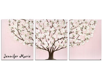 Custom Nursery Art, Tree Wall Art with Baby Girl's Name, Pink Painting on Large Canvas Triptych - 50x20