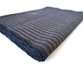 NOS Japanese  vintage stripe indigo fabric  / Cotton kimono