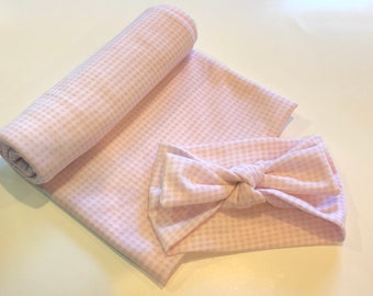 Newborn pink gingham knit stretchy girl swaddling set with headbow, gingham baby blanket, baby girl, pink check swaddle set, baby girl